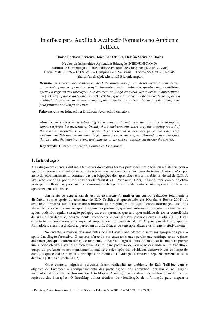 Interface para Auxílio à Avaliação Formativa no Ambiente TelEduc