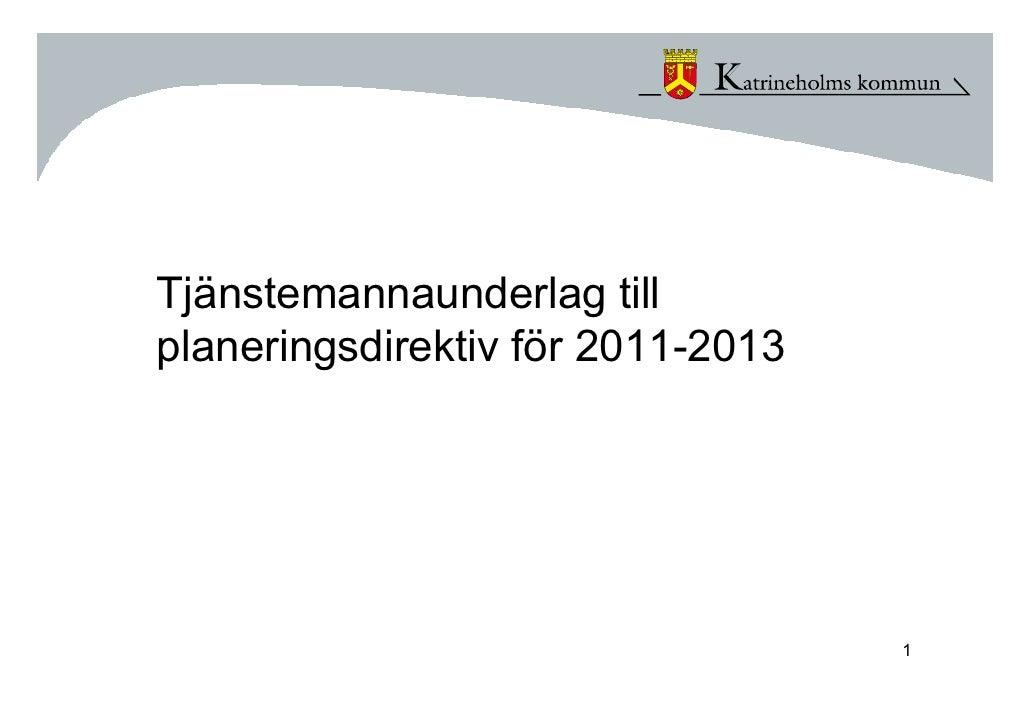 Tjänstemannaunderlag till planeringsdirektiv för 2011-2013                                        1