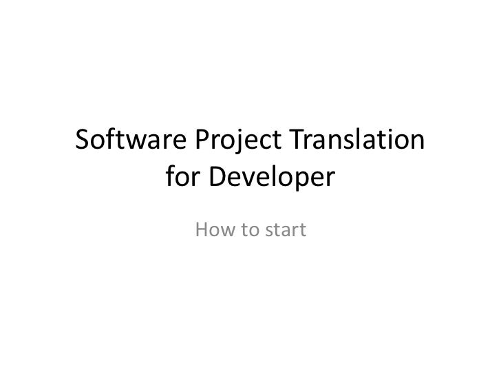 Software project translation for Developer