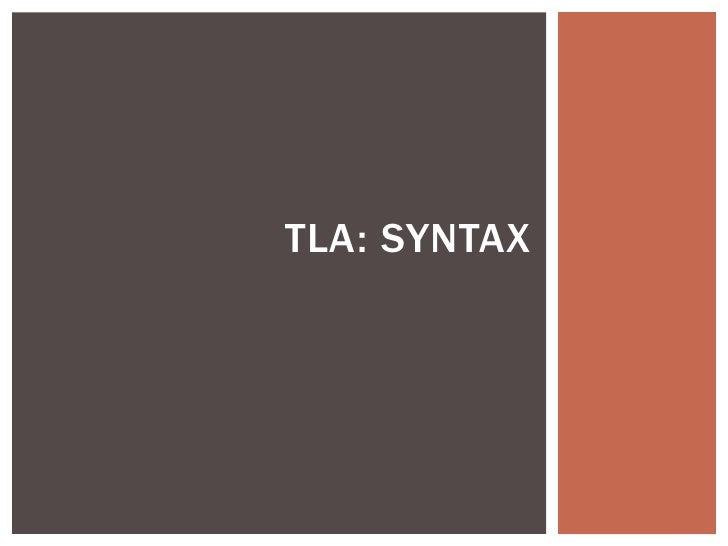 TLA: SYNTAX