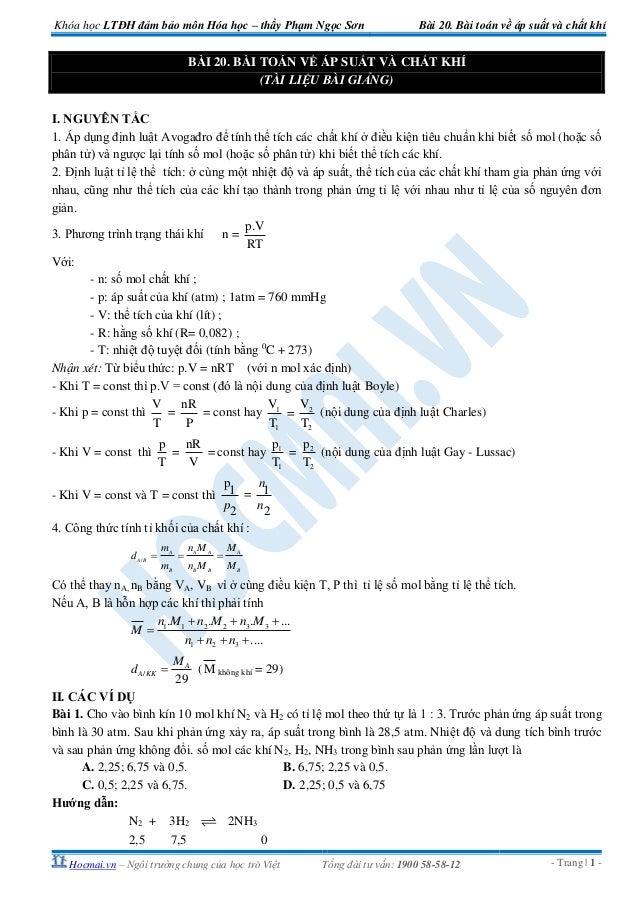 Khóa học LTĐH đảm bảo môn Hóa học – thầy Phạm Ngọc Sơn                          Bài 20. Bài toán về áp suất và chất khí   ...