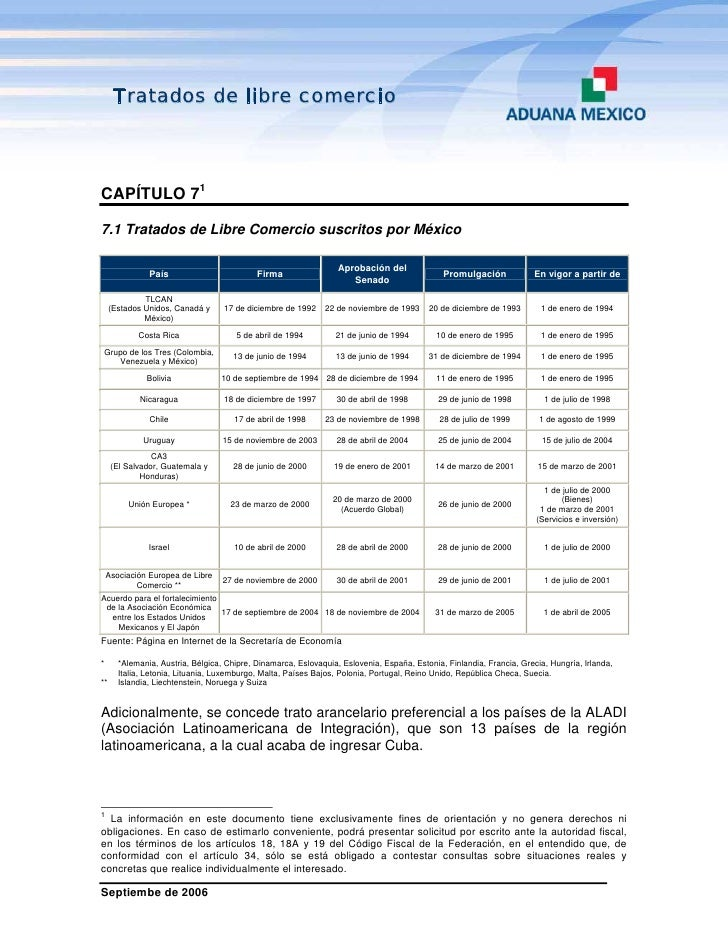 Tratados de libre comercioCAPÍTULO 717.1 Tratados de Libre Comercio suscritos por México                                  ...