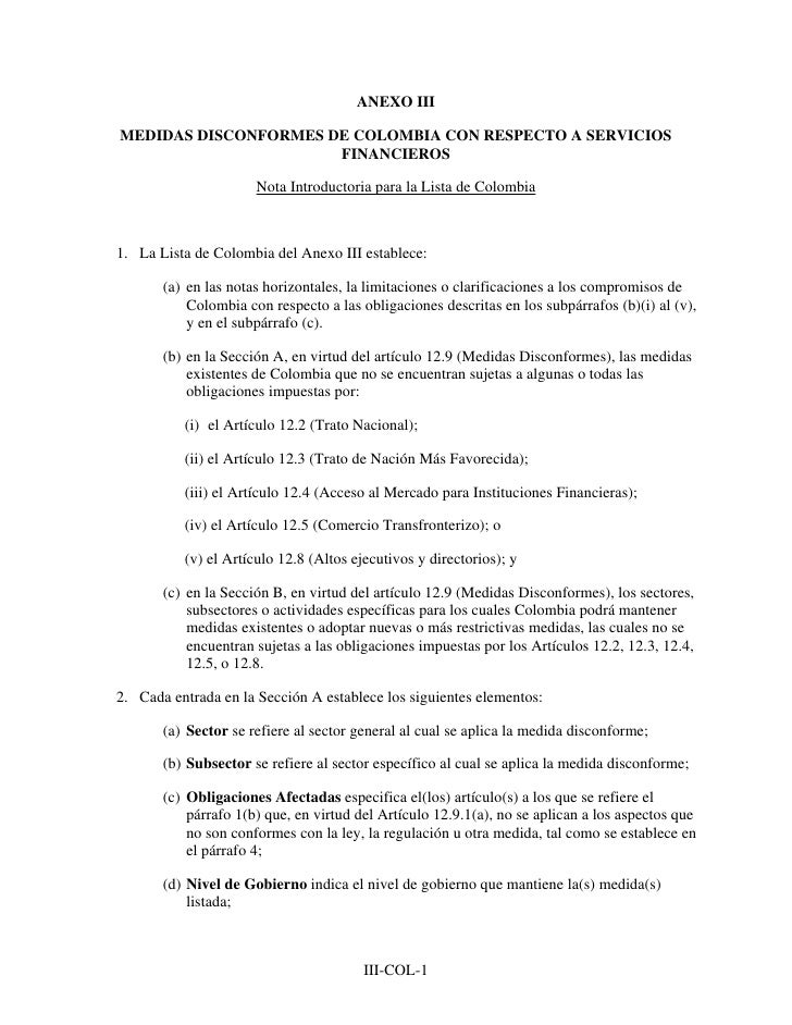 TLC53 Anexo III de colombia