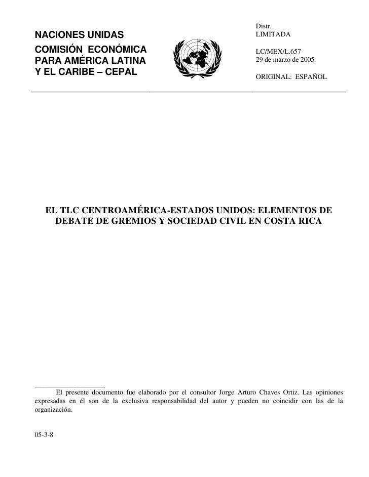 Distr. NACIONES UNIDAS                                                        LIMITADA  COMISIÓN ECONÓMICA                ...