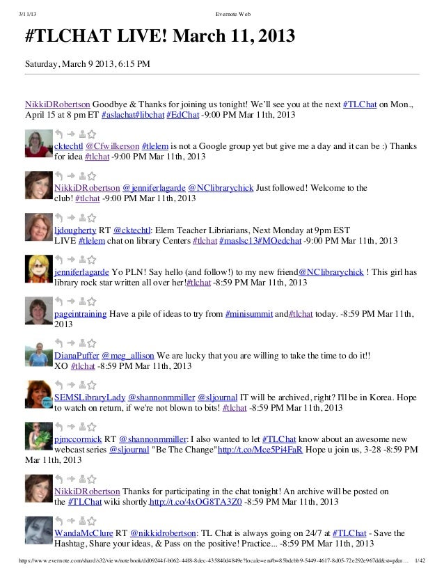 3/11/13                                                                Evernote Web  #TLCHAT LIVE! March 11, 2013  Saturda...