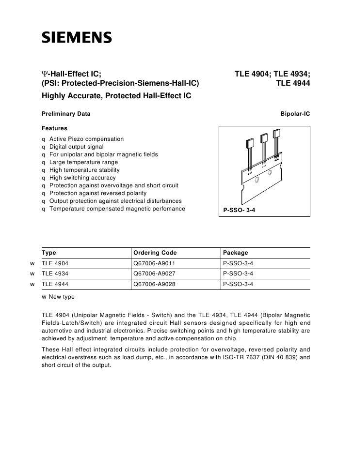 Ψ-Hall-Effect IC;                                                     TLE 4904; TLE 4934;    (PSI: Protected-Precision-Sie...