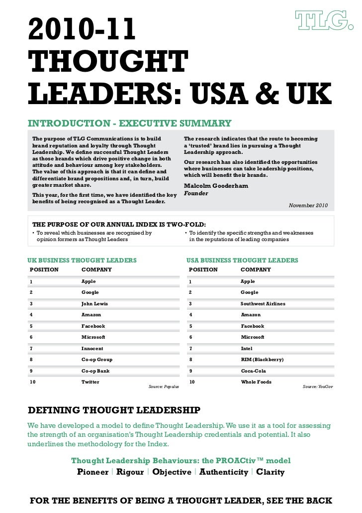 2010-11THOUGHTLEADERS: USA & UKINTRODUCTION - EXECUTIVE SUMMARY The purpose of TLG Communications is to build             ...
