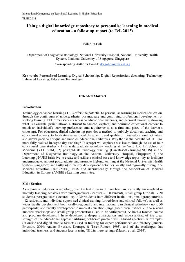 International Conference on Teaching & Learning in Higher Education TLHE 2014 Using a digital knowledge repository to pers...