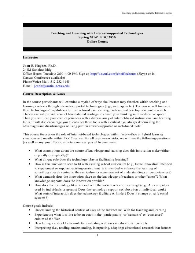 Teaching and learning with Internet-supported technologies - Course syllabus