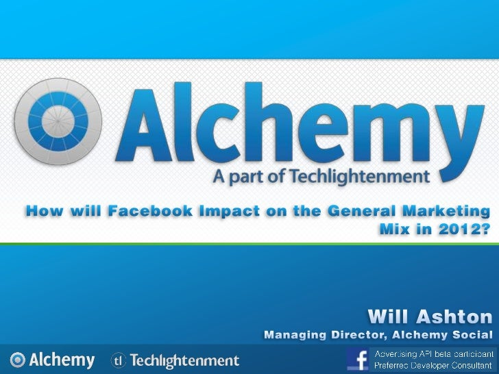 How will Facebook Impact on the General Marketing Mix in 2012?