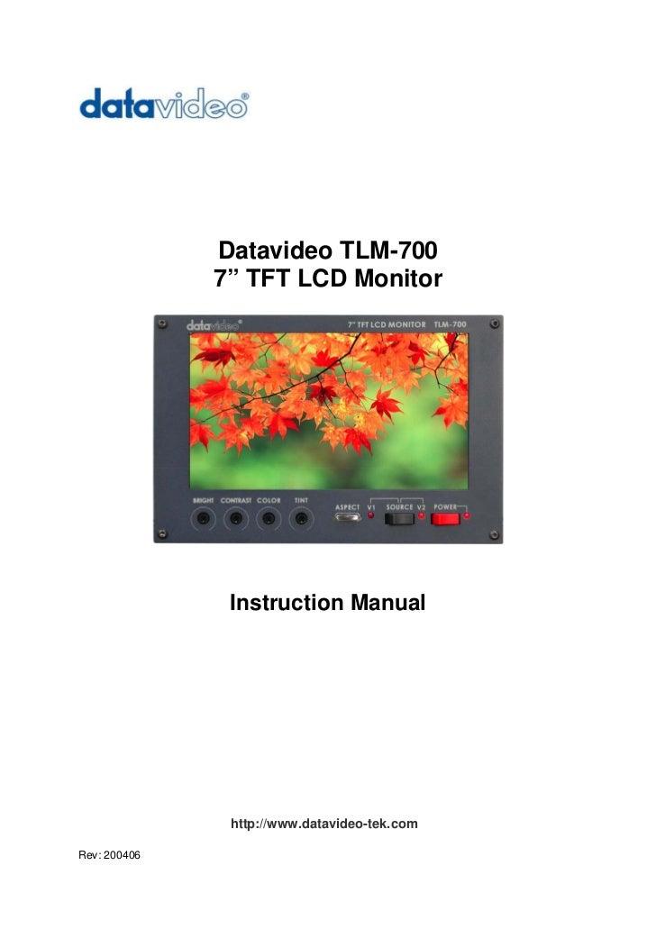 Datavideo TLm-700 Instruction manual