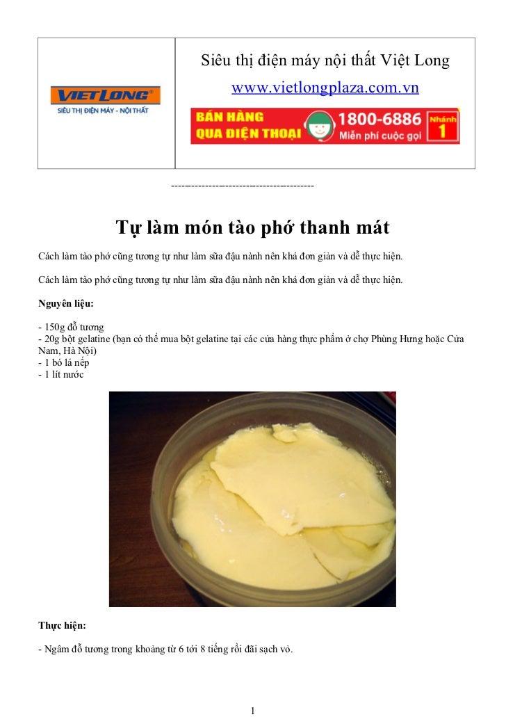 Tự làm món tào phớ thanh mát