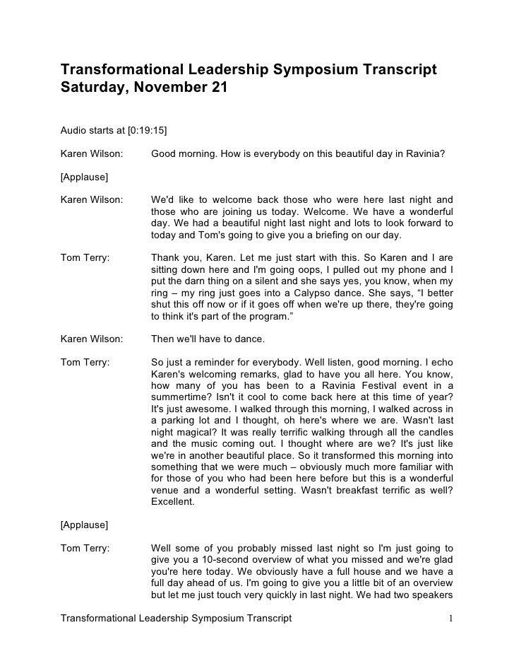 Transformational Leadership Symposium Transcript Saturday