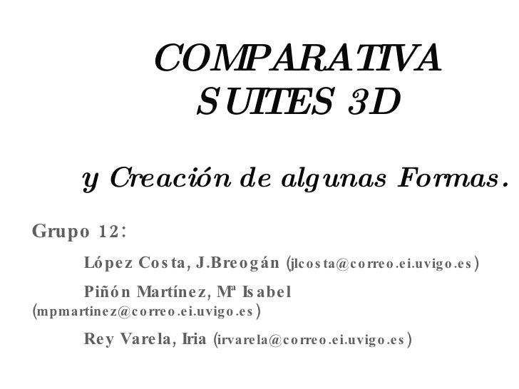 COMPARATIVA SUITES 3D   y  Creación de algunas Formas. Grupo 12: López Costa, J.Breogán  (jlcosta@correo.ei.uvigo.es) Piñó...