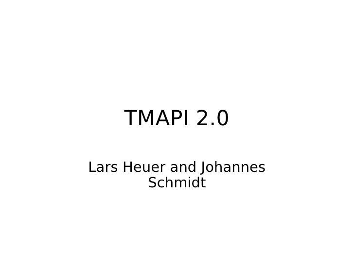 TMAPI 2.0 tutorial