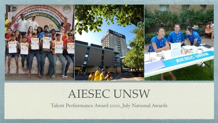 AIESEC UNSW Talent Performance Award 2010, July National Awards