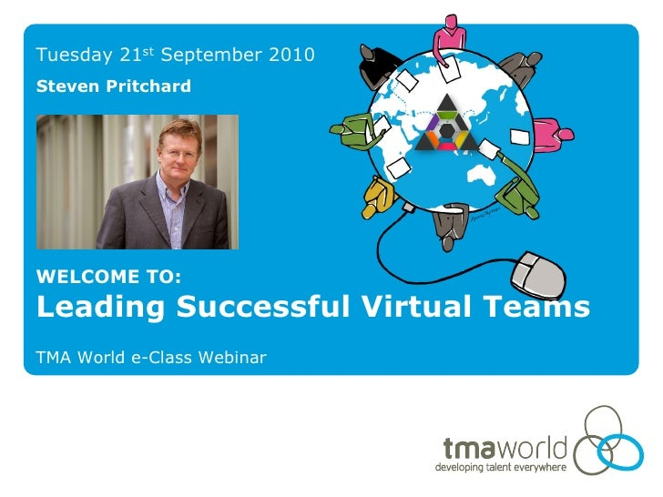 Tuesday 21st September 2010 Steven Pritchard     WELCOME TO: Leading Successful Virtual Teams TMA World e-Class Webinar