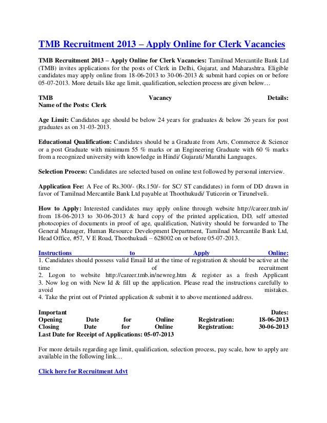 Tmb recruitment 2013 – apply online for clerk vacancies