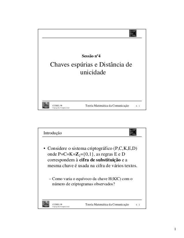Sessão nº4   Chaves espúrias e Distância de             unicidade    CCISEL 99                     Teoria Matemática da Co...