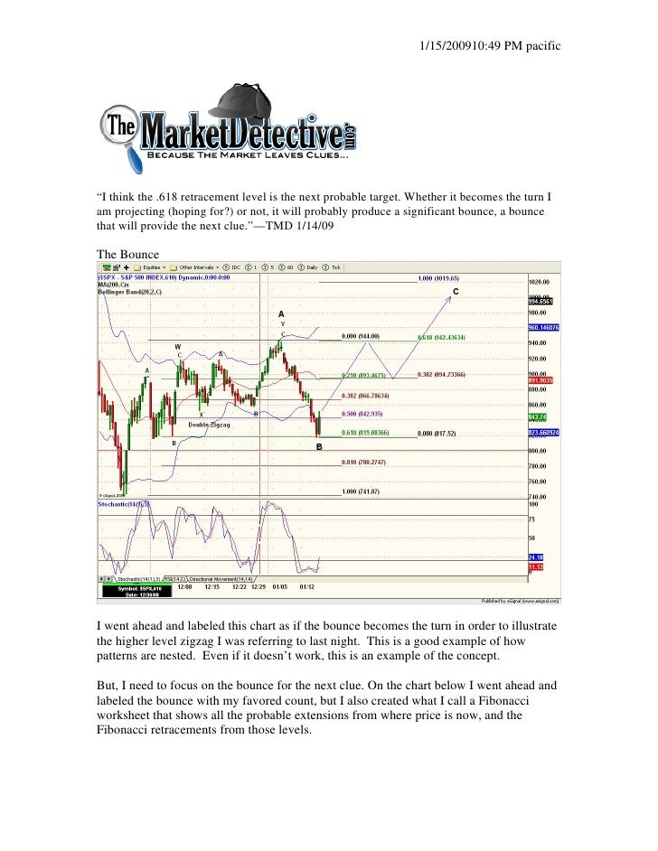 """1/15/200910:49 PM pacific     """"I think the .618 retracement level is the next probable target. Whether it becomes the turn..."""