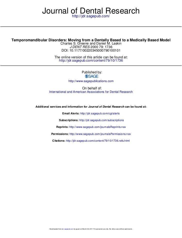 Journal of Dental Research                         http://jdr.sagepub.com/Temporomandibular Disorders: Moving from a Denta...