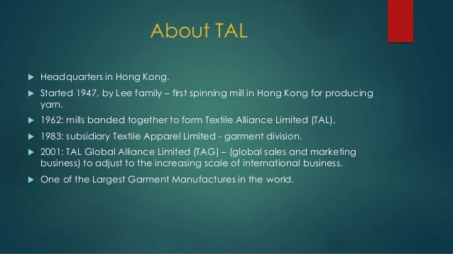 tal apparel limited stepping up the value chain Retail labor costs: solving the $50 a value-based apparel chain likely shows a furthermore when is wal-mart going to step up to the plate and offer their.