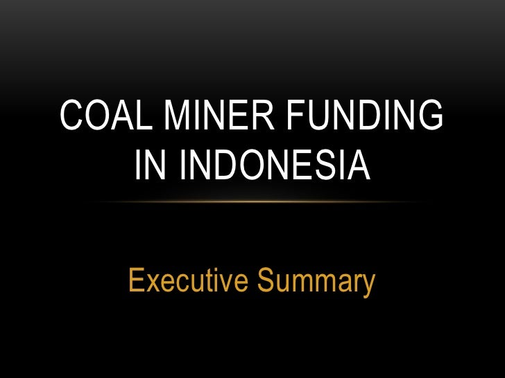 Executive Summary<br />Coal miner funding in Indonesia<br />