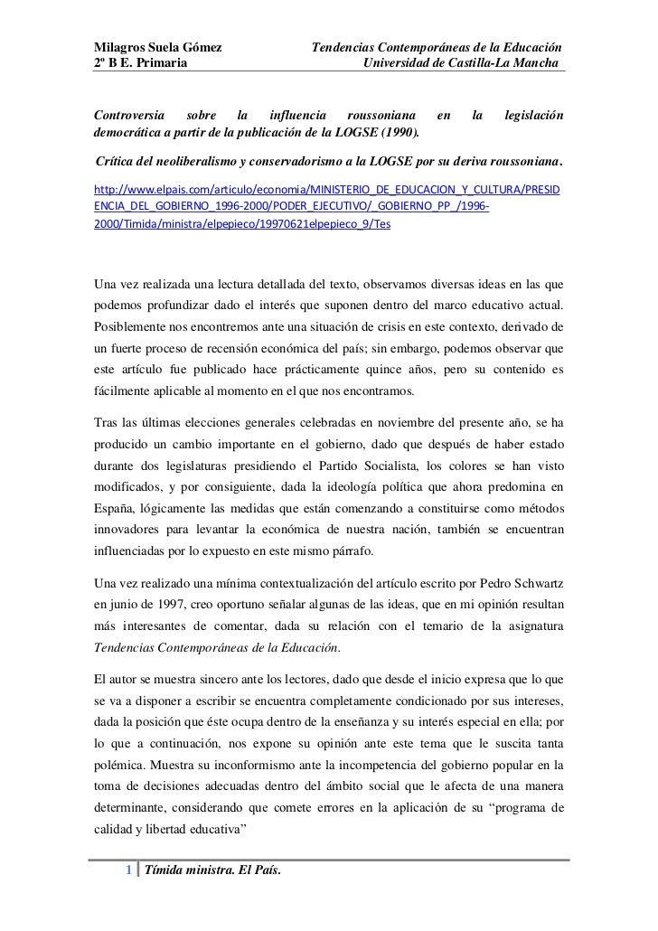 Milagros Suela Gómez                     Tendencias Contemporáneas de la Educación2º B E. Primaria                        ...