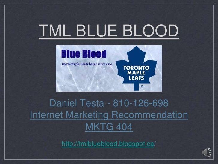 TML BLUE BLOOD     Daniel Testa - 810-126-698Internet Marketing Recommendation             MKTG 404      http://tmlblueblo...