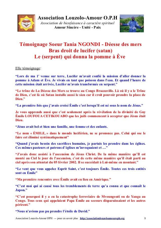 Association Louzolo-Amour O.P.H                    Association de bienfaisance à caractère spirituel                      ...