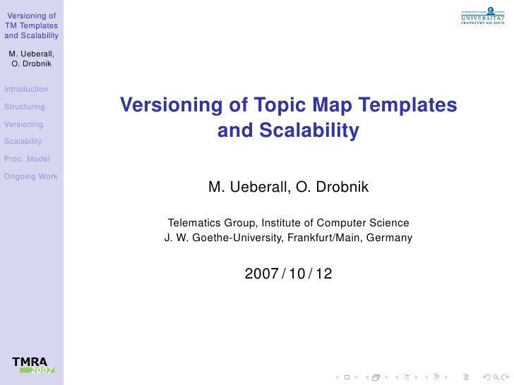 Versioning of TM Templates and Scalability   M. Ueberall,  O. Drobnik  Introduction  Structuring       Versioning of Topic...