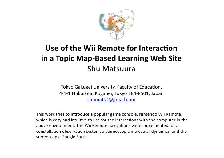 Use  of  the  Wii  Remote  for  Interac2on       in  a  Topic  Map-‐Based  Learning  Web  Site...