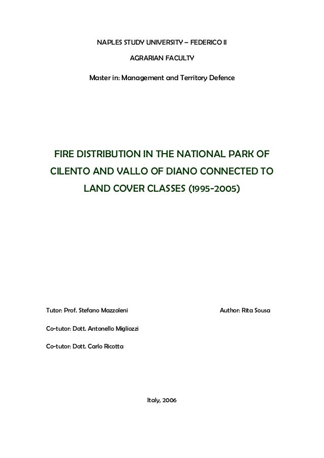 NAPLES STUDY UNIVERSITY – FEDERICO II AGRARIAN FACULTY  Master in: Management and Territory Defence  FIRE DISTRIBUTION IN ...