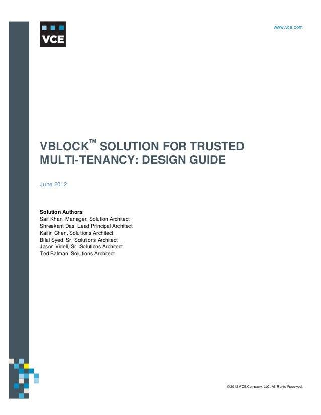 VBLOCK SOLUTION FOR TRUSTED MULTI-TENANCY: DESIGN GUIDE