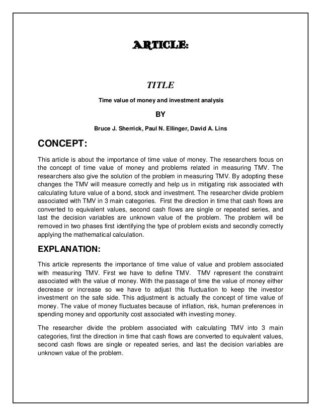 ARTICLE:                                        TITLE                      Time value of money and investment analysis    ...