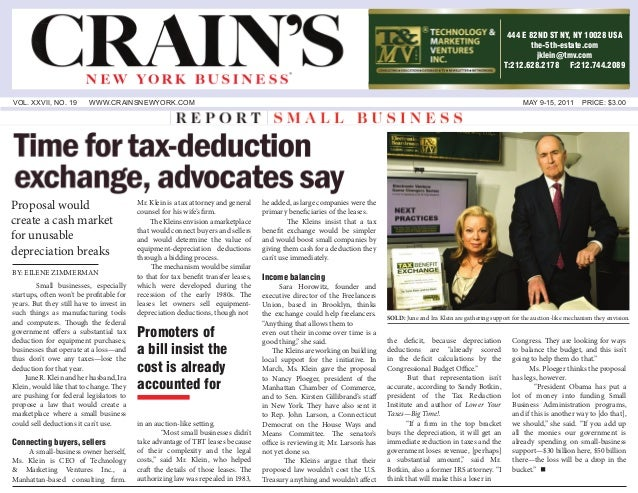 VOL. XXVII, NO. 19 WWW.CRAINSNEWYORK.COM MAY 9-15, 2011 PRICE: $3.00 Small businesses, especially startups, often won't be...
