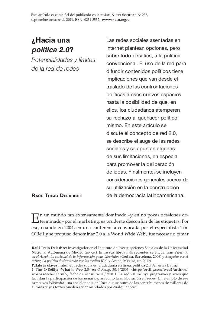 Este artículo es copia fiel del publicado en la revista Nueva Sociedad No 235,septiembre-octubre de 2011, ISSN: 0251-3552,...