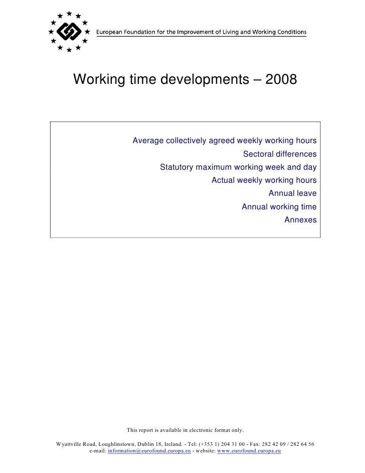 Working time developments – 2008
