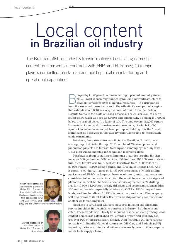 64 T&B Petroleum # 28local contentHeller Redo Barroso isthe founding partner ofHeller Redo Barroso &Associates, a Brazilia...