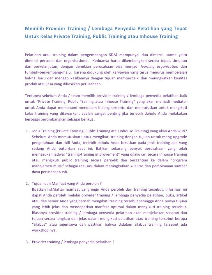 Memilih Provider Training / Lembaga Penyedia Pelatihan yang Tepat Untuk Kelas Private Training, Public Training atau Inhou...