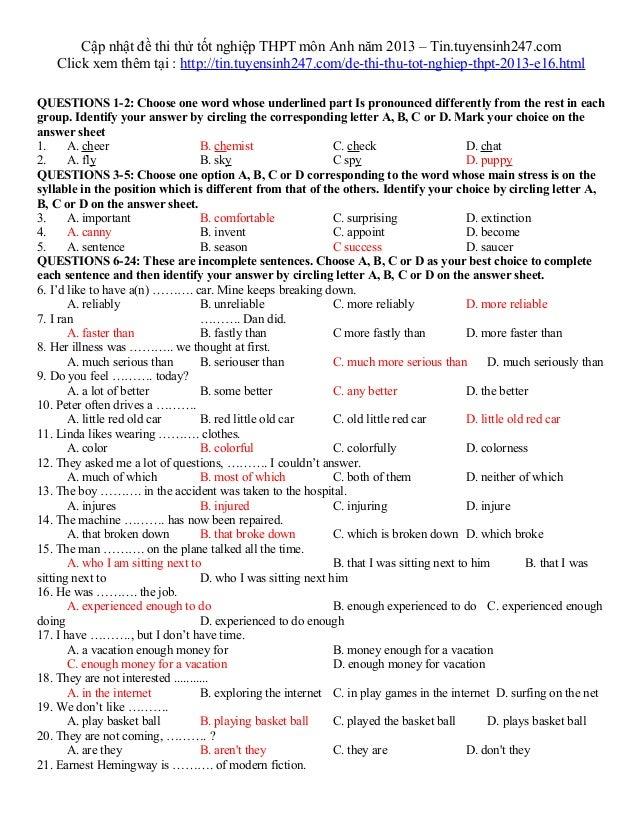 Cập nhật đề thi thử tốt nghiệp THPT môn Anh năm 2013 – Tin.tuyensinh247.comClick xem thêm tại : http://tin.tuyensinh247.co...