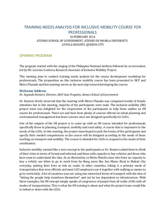 TRAINING NEEDS ANALYSIS FOR INCLUSIVE MOBILITY COURSE FOR PROFESSIONALS 10 FEBRUARY 2014 ATENEO SCHOOL OF GOVERNMENT, ATEN...