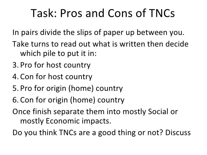 Between Advantages and Disadvantages, which are more important to TNC'S on LEDC'S?
