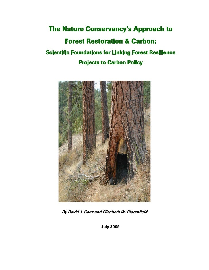 The Nature Conservancy's Approach to        Forest Restoration & Carbon: Scientific Foundations for Linking Forest Resilie...