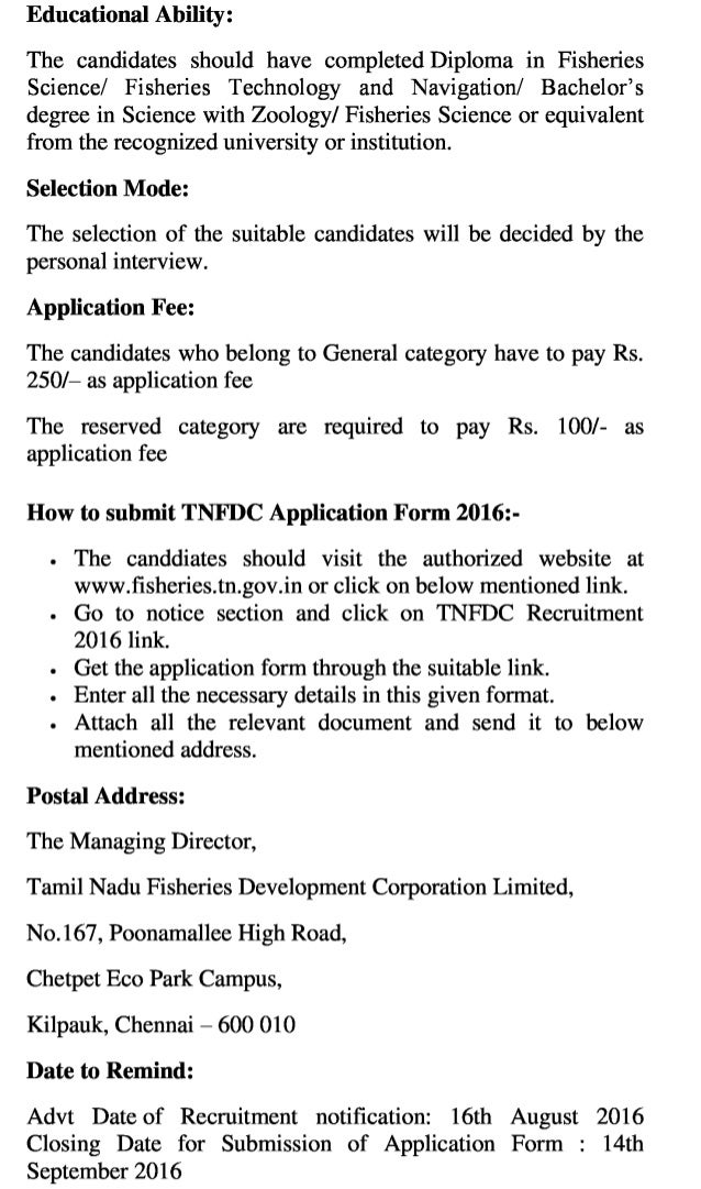 Tnfdc govt job recruitment 2016 latest assistant manager vacancy exam result