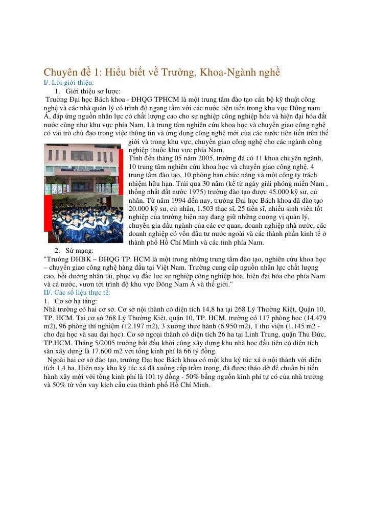 Chuyên đề 1: Hiểu biết về Trường, Khoa-Ngành nghề I/. Lời giới thiệu:      1. Giới thiệu sơ lược:  Trường Đại học Bách kho...