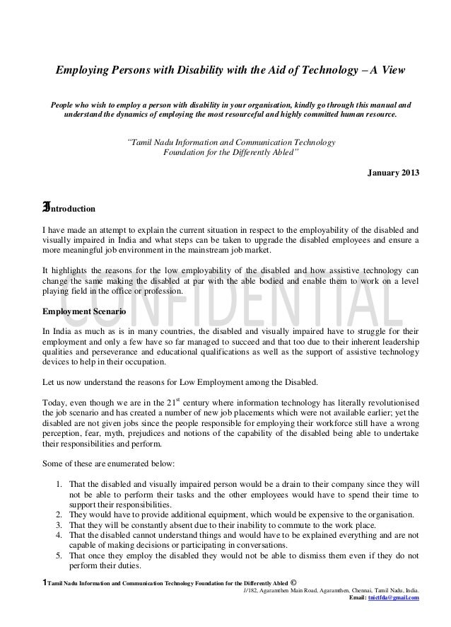 TNICTFDA Employment of Persons with Disabilities - Manual For Corporates / Employers in Tamil Nadu.2013
