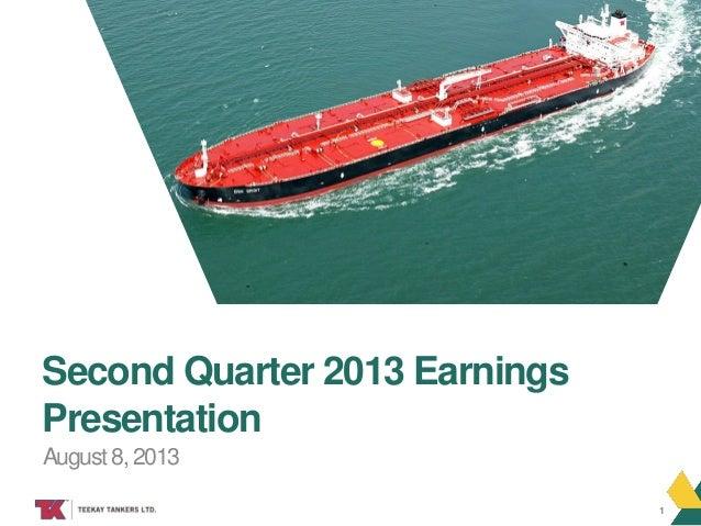 TEEKAY TANKERS August 8, 2013 Second Quarter 2013 Earnings Presentation 1