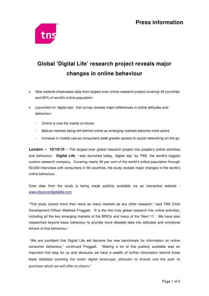 Press information             Global 'Digital Life' research project reveals major                          changes in onl...