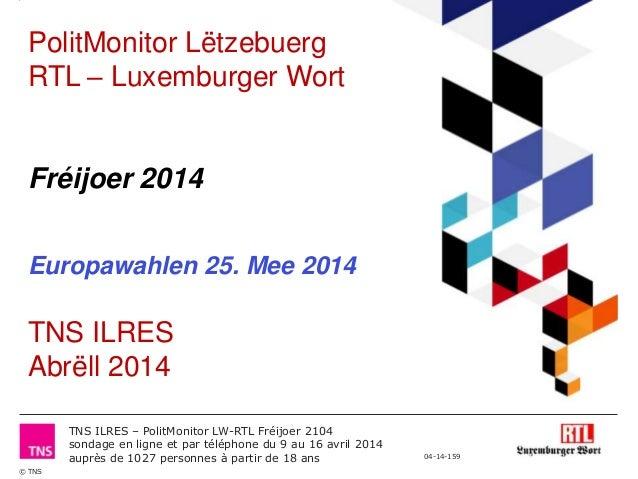 Polit Monitor RTL/Luxemburger Wort - Frühjahr 2014 - Teil 3